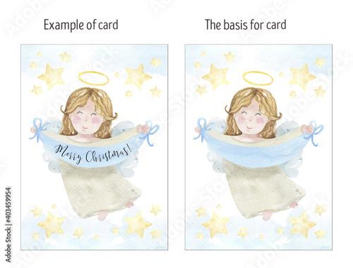 Epiphany greeting card, watercolor card Fotobehang