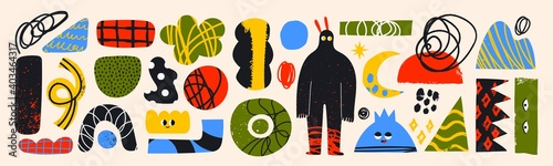 Big Set of hand drawn various colorful Shapes, doodle objects and creatures. Different textures. Abstract contemporary modern trendy Vector illustrations. All elements are isolated