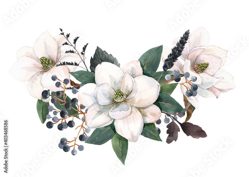 Canvas-taulu Beautiful stock illustration with gentle hand drawn watercolor floral composition