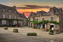 Locronan, Brittany, France. 16th And 17th Century Buildings That Are Grouped Around The Central Square.
