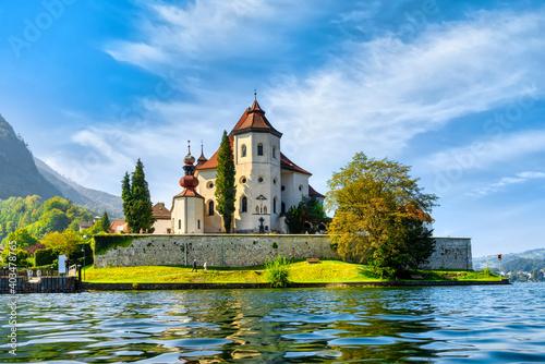 Fotografie, Obraz View to the monastery in Traunkirchen am Traunsee, Austria