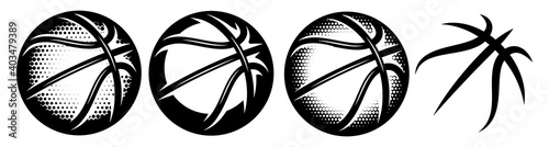 Fotografiet A set of basketballs with different designs