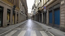 Italy, Milan January 2021 -  Brera District  During Lockdown Due COVID-19 Coronavirus Outbreak - No People And Tourist T With Mask Walking In Pedestrian Zone Area