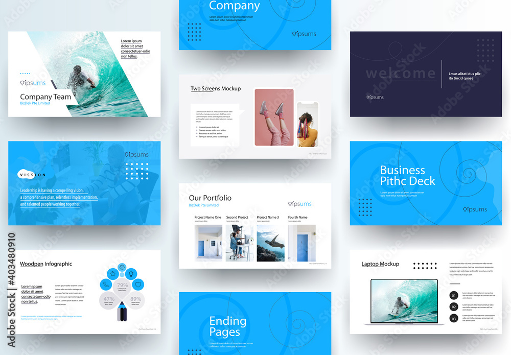 Fototapeta Business Pitch Deck Presentation Laout with Blue Accents