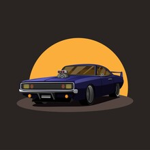 Illustration Of Retro American Muscle Car Supercharger Turbo With Sunset On Background Concept In Cartoon Vector