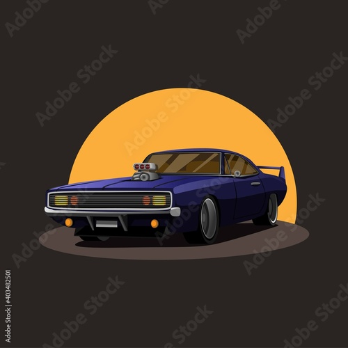 Fotografia Illustration of Retro american muscle car supercharger turbo with sunset on back