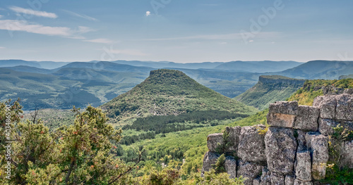 Canvas Print View of the Crimean Mountains from the observation deck in the vicinity of Bakhchisarai, Crimea, Russia
