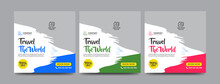 Travel And Vacation Square Social Media Banner Post Template With Brush Stroke
