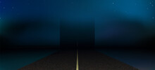 Road To The Heaven, Abstract Background. Night Highway Under The Open Starry Sky. Texture Suburban Asphalt Way.