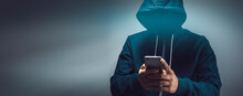 The Hacker Holding Smart Phone