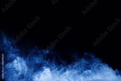 Fototapety, obrazy: Abstract blue smoke moves on black background. Swirling smoke.