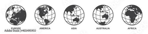 Obraz set of Earth globe icon with 5 hemispheres continents Europe America Asia Australia Africa. world map in globe shape isolated on white background. vector illustration - fototapety do salonu