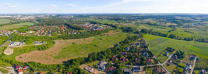 Widok z lotu ptaka, panorama miejscowości Kłodawa w pobliżu miasta Gorzów Wielkopolski, Polska