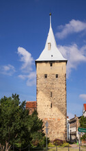 Guard Tower And Church Of Holiest Heart Of Jesus In Zary. Poland