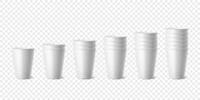 Vector 3d Realistic White Paper Glossy Disposable Cup Set, Stack Of Cup For Beverage, Drinks Isolated. Coffee, Soda, Tea, Cocktail, Milkshake. Design Template Of Packaging For Mockup. Front View