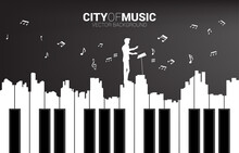 Vector Silhouette Of Conductor With Piano Key Shaped The The Big City Outline Silhouette. Background Concept For Classic Song Event And Music Festival