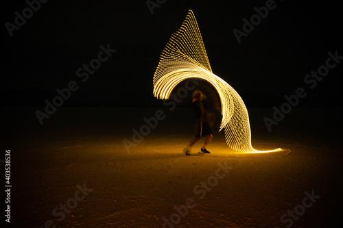 Fotografie, Obraz Bonneville salt flats abstract light painting