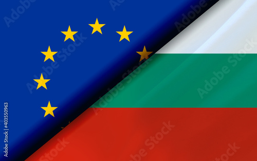 Photographie Flags of the EU and Bulgaria divided diagonally