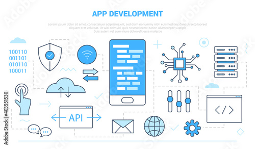 Obraz app development concept with icon set template banner with modern blue color style - fototapety do salonu