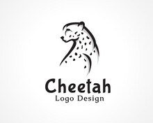 Elegant Tiger, Cheetah, Wild Cat Look Back Drawing Art Symbol, Logo Design Inspiration