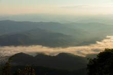 Mountain View Morning Of The Hills Around Landscape Of Doi Samer Dao In Sri Nan National Park , Nan Province Of Thailand