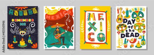 Fotografie, Obraz Day Dead Mexican Posters Set