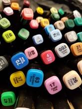 A Set Of Colored Felt-tip Pens Have Artistic