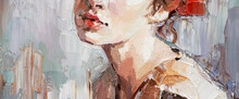 .Fragment Of A Portrait Of A Young Beautiful Girl With Red Lips. Oil Painting On Canvas.