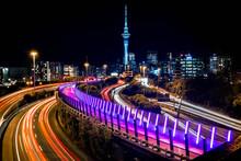Auckland Nuit Rue Street Ville Tour Building Batiment Immeuble Nouvelle-zelande Etat-unis Photo Night Voiture Pose Longue Autoroute