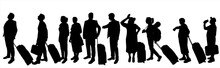 People Stand One After Another In One Line. Passengers With Baggage, Carry-on Luggage, Suitcase On Wheels. Line Of Ten Adults. Black Silhouette Of A Man, Guy, Girl, Woman, Grandmother, Senior Woman.