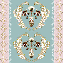 Vector Seamless Pattern In Baroque Style Of Golden Acanthus Leaves And Gorgeous Vase Of Flowers