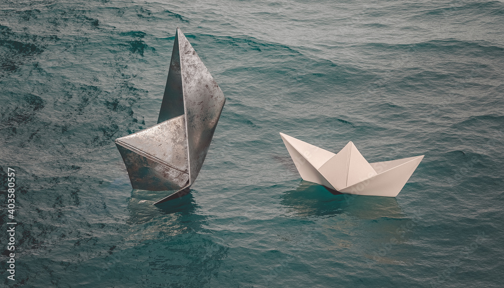 Fototapeta metal boat sinks while paper boat sails on the water.