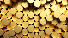 Round Mosaic Surface With Random Golden Cylinders. Abstract Geometric Background. 3d Rendering Illustration.