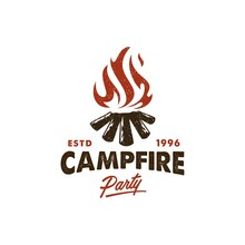 Camping Invitation Logo, Hot Campfire Logs On Hand Drawn Stamp Effect Vector Illustration. Vintage Grunge Texture For Party Poster And Banner