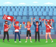 Sport Supporters. Soccer Team Happy Fans Group With Rooter Equipment And Flags, Stadium Victory Celebration, Screaming And Smiling People In Team Colors. Vector Flat Cartoon Concept