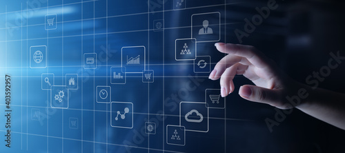 Application icons on virtual screen. Technology and business concept.