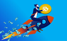 Bitcoin Going Up - Man On Rocket Flying To The Sky Holding Crypto Currency In Hands. Investing And Profits Concept. Vector Illustration.