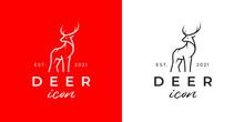Deer Logo. Buck Line Icon. Wild Reindeer Outdoor Brand Label. Elk Antlers Sign. Wildlife Stag Symbol. Vector Illustration.