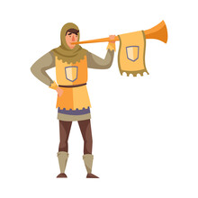 Medieval Man Herald Or Messenger With Trumpet Vector Illustration