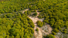 Off-road Racing Track In The Forest, Aerial View
