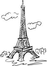 Eiffel Tower Sketch Art Print