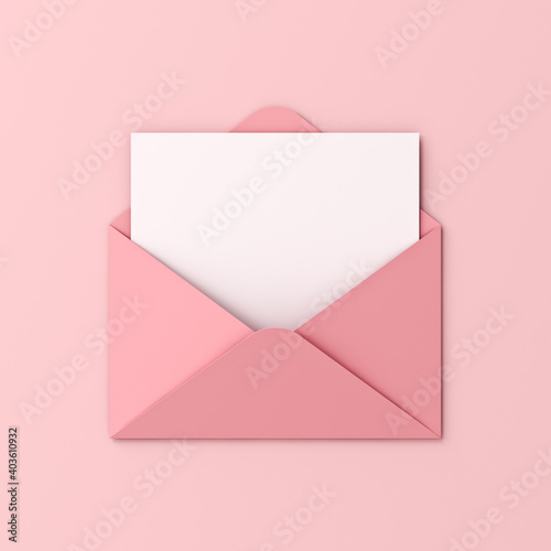 Blank white card in pink envelope isolated on pink pastel color background with shadow love letter minimal conceptual 3D rendering © masterzphotofo