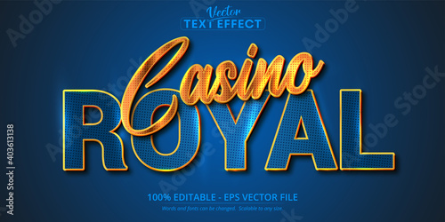 Casino Royal text, shiny golden and blue color style editable text effect
