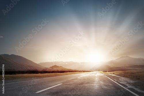 Fototapeta sunset on the road obraz