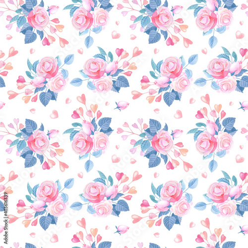 Fototapety, obrazy: Pink watercolor hearts,roses on white background. Seamless pattern with abstract flowers.Valentines Day Watercolour Illustration for print,textile