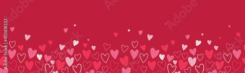 Cute hand drawn hearts seamless pattern, great for Valentine's Day, Weddings, Mother's Day - textiles, banners, wallpapers, backgrounds.