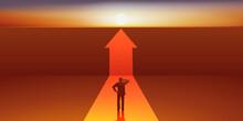 Concept De L'obstacle Qui Entrave La Progression D'un Homme Dans Sa Carrière Professionnelle, Avec Un Mur Qu'il Doit Franchir Pour Poursuivre Sa Voie.