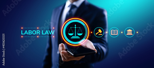 Canvas Print Labor law, Lawyer, Attorney at law, Legal advice business concept on screen