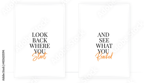 Canvas-taulu Look back where you start and see what you build, vector