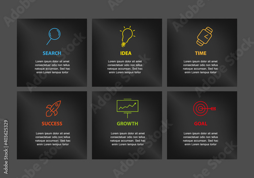 Fototapeta Vector six icon menu company business succes plan with place for text